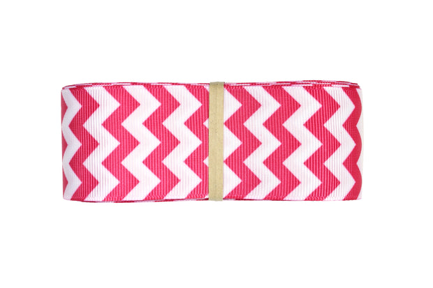1 1/2 Inch Pink and White Chevron Grosgrain Ribbon