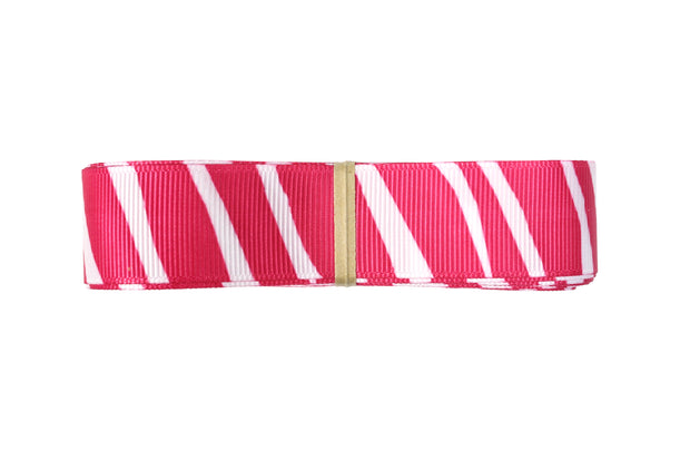 7/8 Inch Pink and White Zebra Grosgrain Ribbon