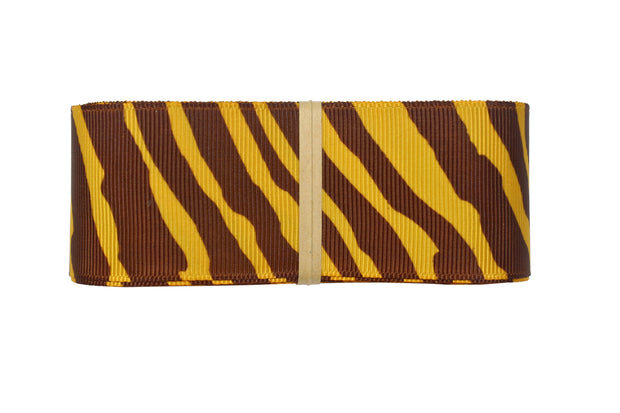 1 1/2 Inch Gold Yellow and Brown Animal Print Zebra Ribbon