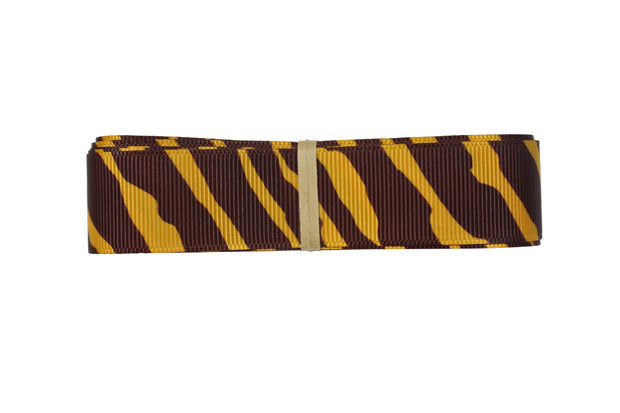 7/8 Inch Gold Yellow and Brown Animal Print Zebra Ribbon