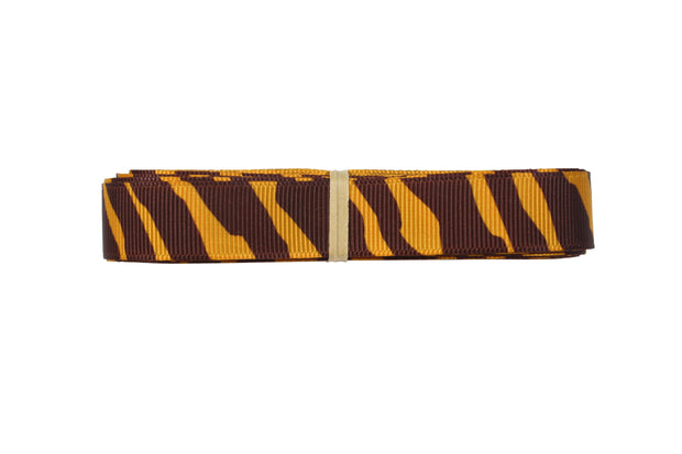 5/8 Inch Gold Yellow and Brown Animal Print Zebra Ribbon