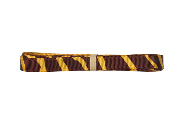 3/8 Inch Gold Yellow and Brown Animal Print Zebra Ribbon
