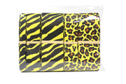 Yellow and black animal print grosgrain ribbon bundle