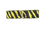 7/8 Inch yellow and black zebra print grosgrain ribbon