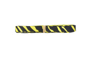 3/8 Inch yellow and black zebra print grosgrain ribbon