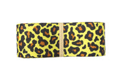 1 1/2 Inch yellow and black leopard print grosgrain ribbon