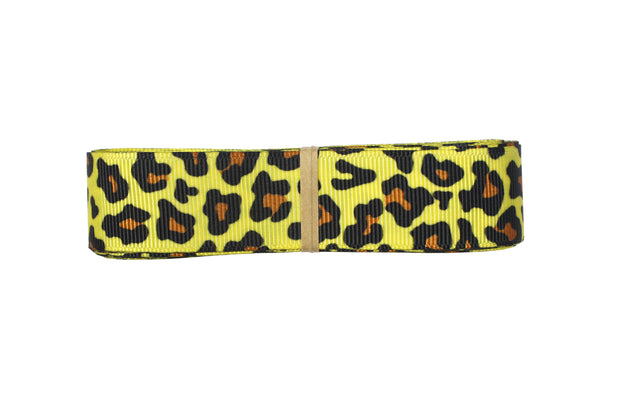 7/8 Inch yellow and black leopard print grosgrain ribbon