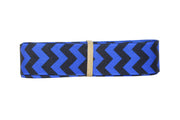 7/8 Inch Electric Blue and Black Chevron Grosgrain Ribbon
