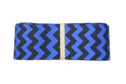 1 1/2 Inch Electric Blue/Black Chevron Grosgrain Ribbon