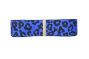 7/8 Inch Electric Blue and Black Leopard Grosgrain Ribbon