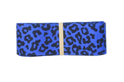 1 1/2 Inch Electric Blue and Black Leopard Grosgrain Ribbon