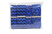 Blue and black chevron and animal leopard print grosgrain ribbon bundle