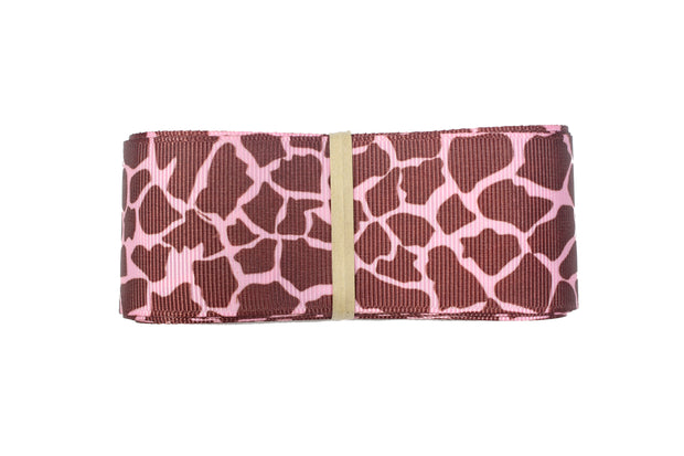 "LaRibbons 5/8"" -  1 1/2"" - ""Pink/Brown"" Giraffe Grosgrain Ribbon Bundle"