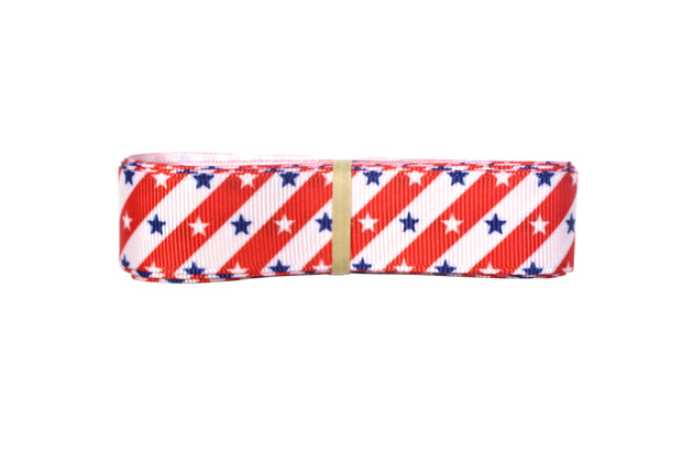 7/8 inch red, white and blue stars and stripes grosgrain ribbon