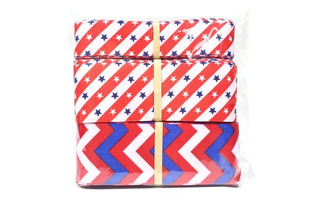 Red, white and blue novelty grosgrain ribbon bundle