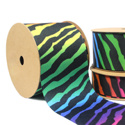 Rainbow Zebra Grosgrain Ribbon Multicolor