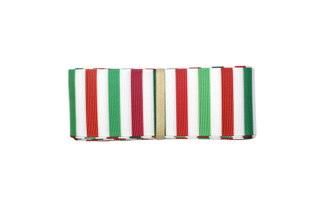 1 1/2 Inch Green, Red and White Christmas Stripes Grosgrain Ribbon