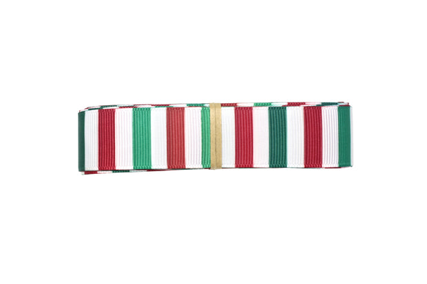 7/8 Inch Green, Red and White Christmas Stripes Grosgrain Ribbon