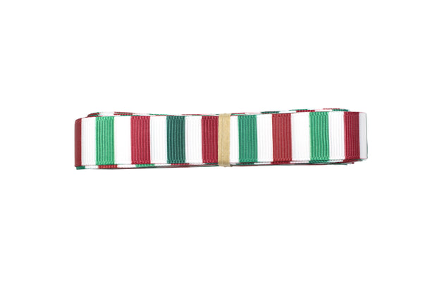 5/8 Inch Green, Red and White Christmas Stripes Grosgrain Ribbon