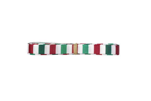 3/8 Inch Green, Red and White Christmas Stripes Grosgrain Ribbon