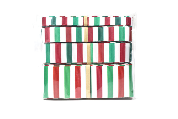 Green, red and white Christmas stripe ribbon bundle