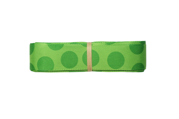 7/8 inch green polka dot grosgrain ribbon