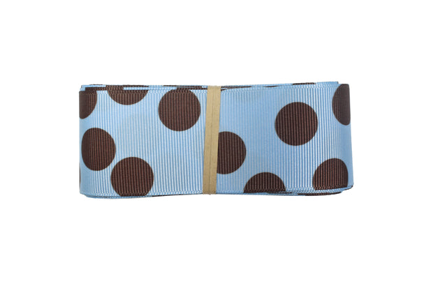 1 1/2 Inch Brown and Blue Polka Dot Grosgrain Ribbon