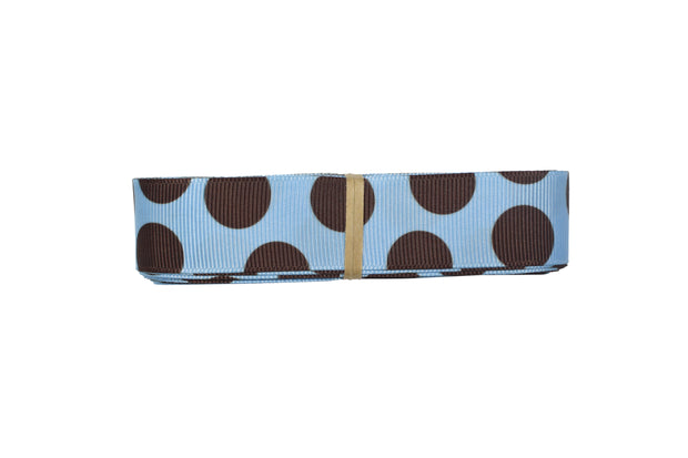 7/8 Inch Brown and Blue Polka Dot Grosgrain Ribbon