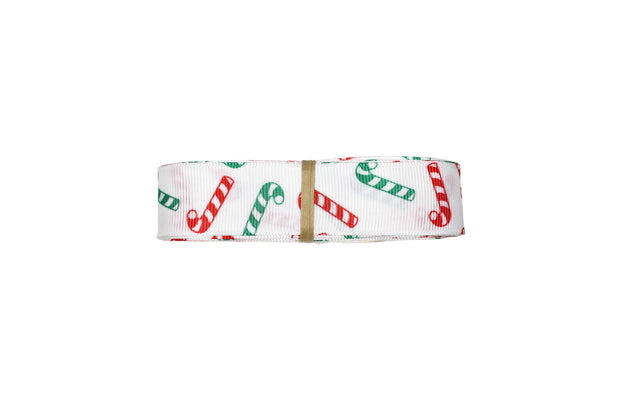 7/8 inch White Candy Cane printed Grosgrain Ribbon