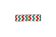 7/8 inch Red and green chevron printed Grosgrain Ribbon