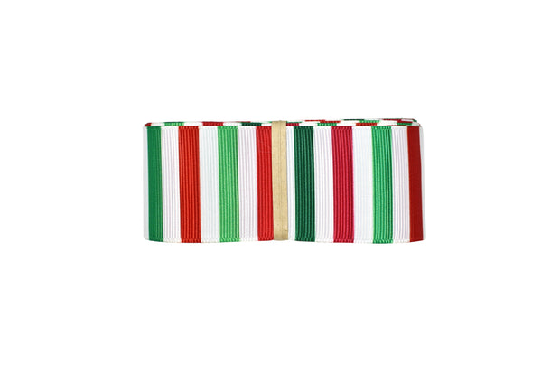 1 1/2 inch Red and Green Stripe Grosgrain Ribbon