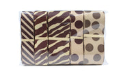 Brown and tan zebra print, polka dot and chevron ribbon bundle