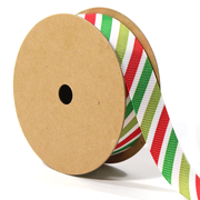 7/8 inch green red and white stripe ribbon