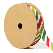 5/8 inch green red and white stripe ribbon
