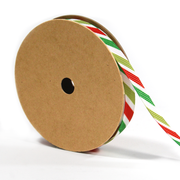 3/8 inch green red and white stripe ribbon