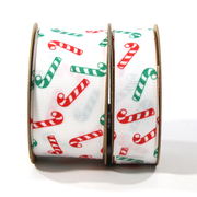 White Christmas ribbons with green and red candy canes