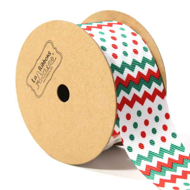 Chevron Dot Grosgrain Ribbon White/Green/Red