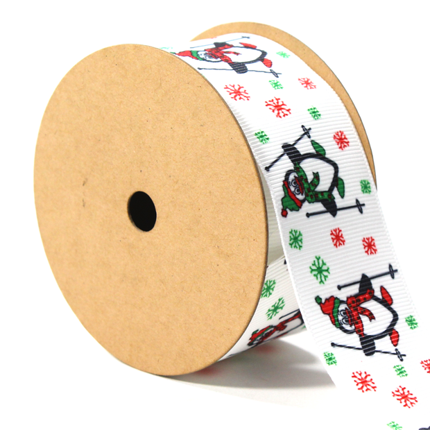 1 1/2 inch white penguin and snowflake print grosgrain ribbon