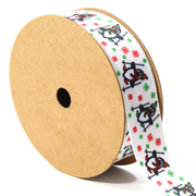 7/8 inch white penguin and snowflake print grosgrain ribbon