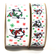 Skiing Penguins Grosgrain Ribbon Multi