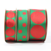 "1"" Reversible Jumbo Dot Grosgrain Ribbon Red/Green"