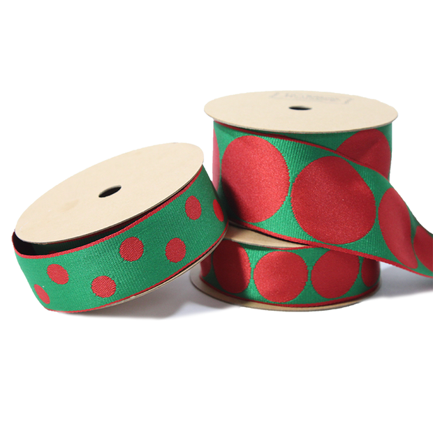 "1 1/2"" Reversible Jumbo Dot Grosgrain Ribbon Red/Green"