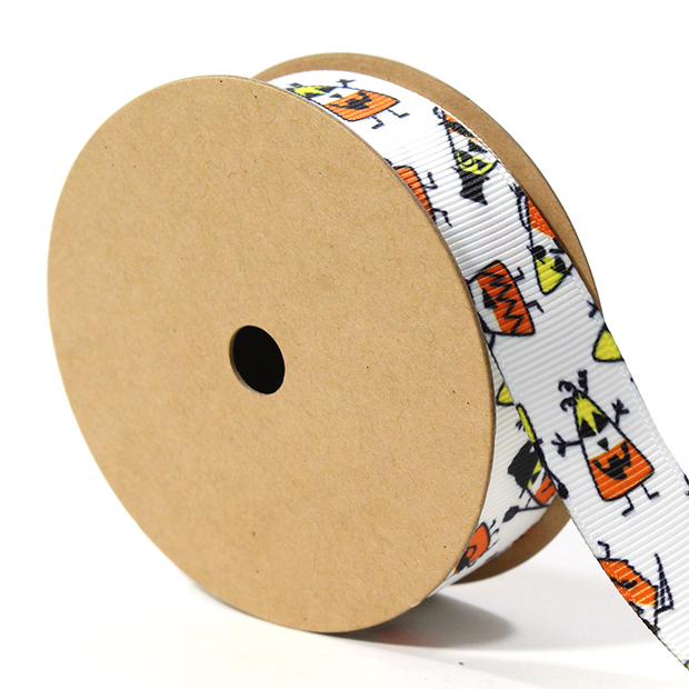 "White/Multi ""Scardy Corn"" Grosgrain Ribbon"