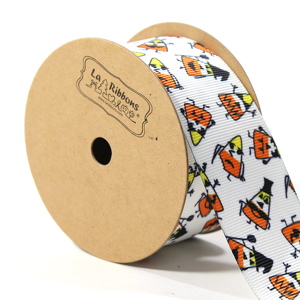 1 1/2 inch candy corn print grosgrain ribbon