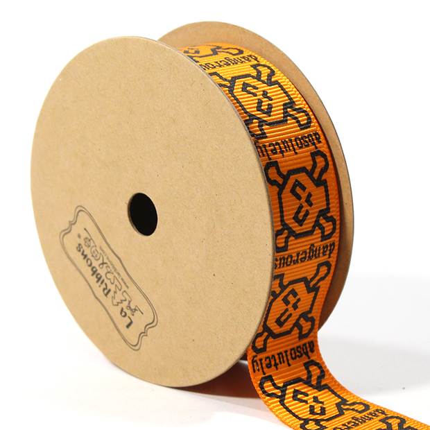 7/8 inch orange skull grosgrain ribbon