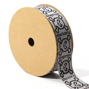7/8 inch grey skull grosgrain ribbon