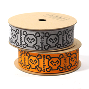 7/8 inch orange and grey skull ribbon spools