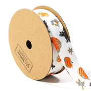 7/8 inch white novelty Halloween grosgrain ribbon