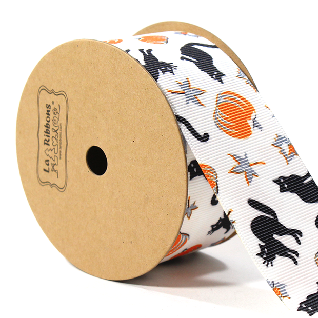 1 1/2 inch white mini Halloween ribbon