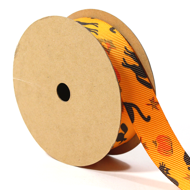 7/8 inch orange Halloween grosgrain ribbon